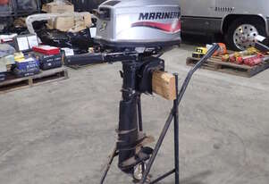 MARINER 5HP OUTBOARD BOAT MOTOR ON TROLLEY
