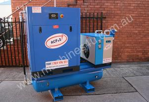 15hp 11kW Rotary Screw Air Compressor Package with Tank Dryer & Oil Removal Filters