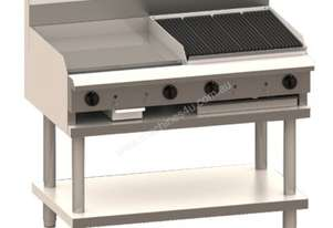Luus CS-9P3C 900mm Grill, 300mm Chargrill & Shelf Professional Series