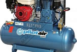 K25PR Petrol Driven Pilot Air Compressor 150 Litre / Honda GX270 21.4cfm Displacement