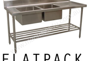 Alphaline XS2-60180L Stainless Steel Double Sink Bench, 1800 x 600 Left Bowls