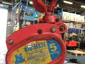 Chain Hoist 5 Ton x 6 meter drop lifting Block and Tackle Nobles Rigmate 5000kg - picture0' - Click to enlarge