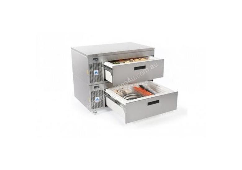 Adande VCS2.CW Double Drawer Side Engine Refrigeration Unit with Castors and Solid Work Top
