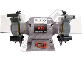 X6 Industrial Bench Grinder Ø150mm Fine & Coarse Wheels 0.37kW - 0.5HP Motor Power - picture3' - Click to enlarge