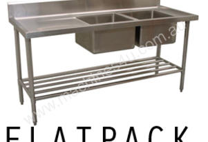 Alphaline XS2-60180R Stainless Steel Double Sink Bench, 1800 x 600 Right Bowls
