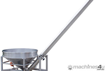 Inclined Stainless Steel Screw Auger Conveyor.