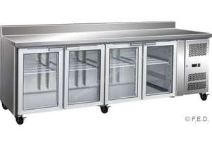 F.E.D. GN4200FEGS 4 Glass Door Gastronorm Bench Fridge With Splashback