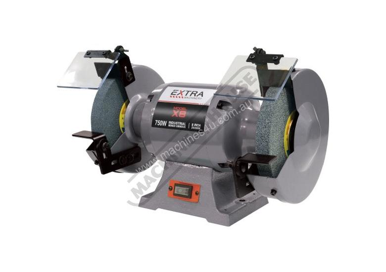 X8 Industrial Bench Grinder Ø200mm Fine & Coarse Wheels 0.75kW - 1HP Motor Power