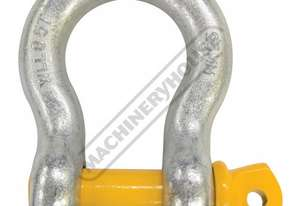 GSSB25 8.5T Bow Shackle Galvanised Finish With Yellow Pin