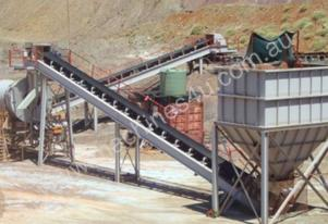 Agglomerator heap leach plant with radial  stacker