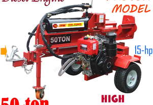 Log splitter TOOL POWER 50-ton, 15-hp Diesel