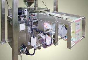 Low profile packaging system with Multihead (10) VFFS, pack off conveyor.