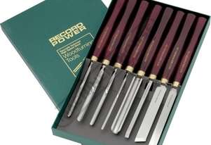 RPCHS8 HSS Spindle and Bowl Wood Turning Tools - 8 Piece Set  Professional Chisel Set