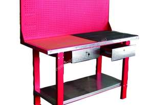 Steel Workbench With 2 Drawers and Steel Pegboard