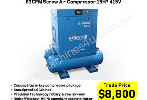 63CFM Electric Screw Air Compressor 15HP 415V