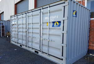 Shipping container side opening doors