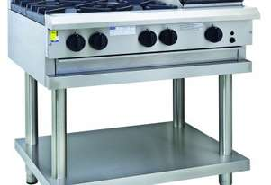 Luus CS-4B3C 900mm Cooktop with 4 Burners, 300mm Chargrill & Shelf Professional Series