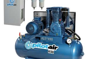 K50 Industrial Air Compressor & Refrigerated Air Dryer Package Deal 268 Litre / 10hp 39.6cfm Displac