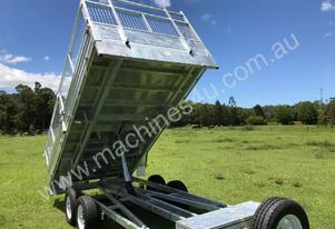 Tipping trailer with ramps flat top 14x7