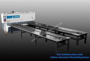 INANLAR 3000 x 10mm CNC Hydraulic Guillotine Shear with 6 meter front arms and special feeding syste