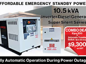 10.5kVA Kipor Inverter Generator plus ATS up to 125Amp - picture0' - Click to enlarge