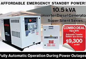 10.5kVA Kipor Inverter Generator plus ATS up to 125Amp