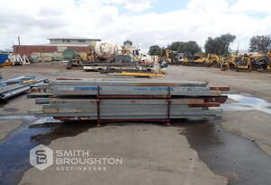 4 X STILLAGES OF 75MM & 100MM METAL SQUARE BOX SECTIONS