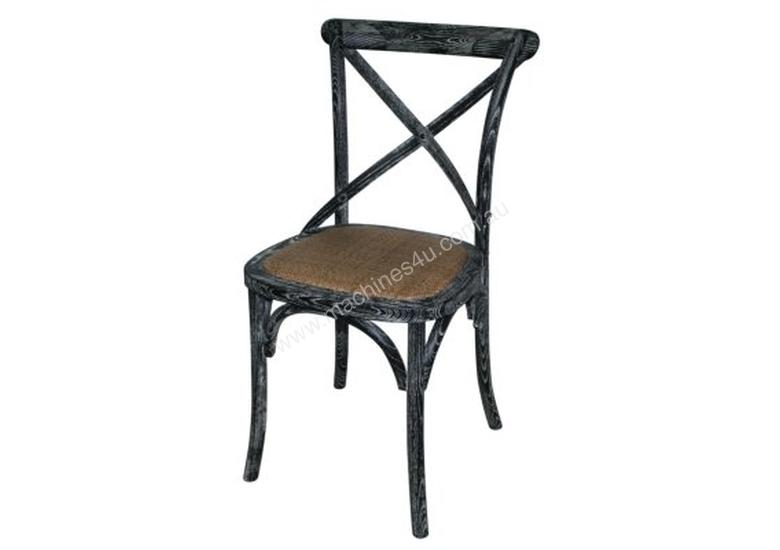Bolero Wooden Dining Chair with Cross Backrest (Box 2) Black Wash Finish