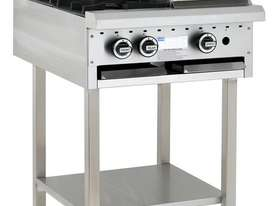2 Burner 300mm Griddle Cooktop with legs & shelf - picture0' - Click to enlarge