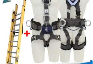 Branach Fiberglass Extension Ladder 3.9m with Exofit Safety Harness