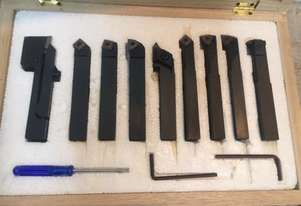 Carbide Turning Tool Set - 12mm Shank. Clamped Type. 9 Piece. Timber case