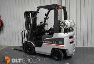 Nissan 1.8 Tonne Forklift LPG EFI 4.3m Container Mast Sideshift Solid Tyres