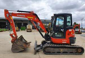 2018 KUBOTA U55-4 EXCAVATOR WITH A/C CABIN, CIVIL SPEC AND LOW 1300 HOURS
