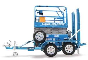 Genie 19E Scissor on trailer