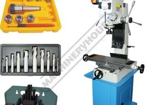 HM-46 Mill Drill Machine & Imperial Tooling Package Deal (X) 475mm (Y) 195mm (Z) 450mm Dovetail Colu