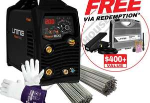 "RAZORâ""¢ 200 DIGITAL PULSE AC/DC Multi-Function Inverter TIG/MMA (ARC) Welder Package Deal #KUM-M-RT"