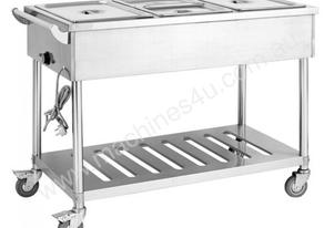 Three Pan Heated Food Service Cart