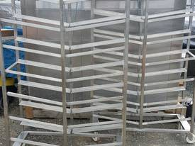 LARGE STAINLESS STEEL MEAT TRAY RACKS.