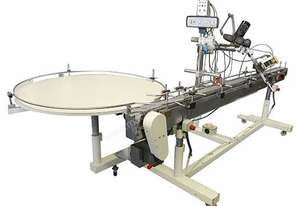 Overhead labeller with hot foil coder and Rotary Table