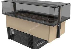 FPG GNC03-GT-SO-F Refrigerated GN Servery with Optional Gantry and Flat Serve Over Glass - 3 Pan