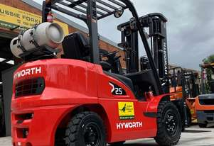 HYWORTH 2.5T Gas Forklift HIRE from $200pw + GST
