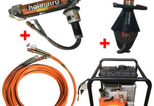 Holmatro Hydraulic Rescue Set Petrol Powered Pump, Telescopic Ram and Single Hose Reel - Used Items