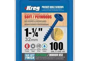 Kreg Pocket Screws 1-1/4 Coarse Thread Blue Kote - 100pc
