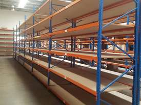 Used 3.6m High Long Span Racking Shelving With Boards 3600 x 900 - picture0' - Click to enlarge