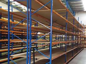 Used 3.6m High Long Span Racking Shelving With Boards 3600 x 900 - picture1' - Click to enlarge
