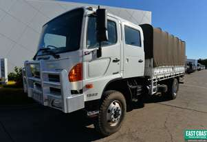 2012 HINO GT 500 4x4 Dual Cab Tray Top Drop Sides