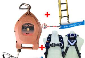 Extension Ladder 2.7 to 3.9m Branach Fibreglass, Miller Fall Arrestor and Exofit Safety Harness